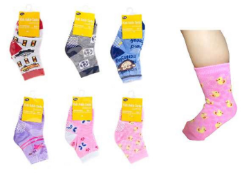 48 x Kids Ankle socks with grip - Children's socks - 6 Assorted designs - Wholesale Bulk Lot Deal