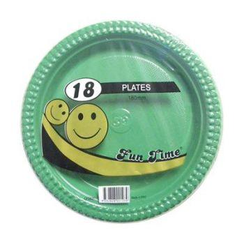 108 Pack - 6 x 18 Pack Dark Green Plastic Snack Plate 180mm - Super Value!
