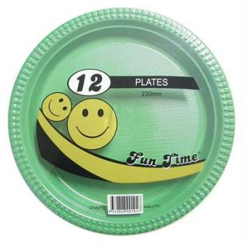 72 Pack - 6 x 12 Pack Dark Green Plastic Disposable Dinner Plate 230mm - Wholesale lots!