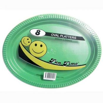 48 Pack - 6 x 8 Pack Dark Green Plastic Disposable Oval Plate 300 x 230mm - Super Value!