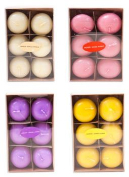 72 Piece (12 x 6 Pack) Floating Candles -  4 Assorted Scent - Super Value!