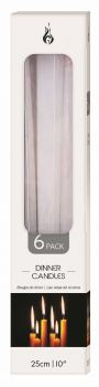72 Piece (12 x 6 Pack) DINNER CANDLE WHITE TAPERED 25cm - Wholesale Bulk Lot Deals