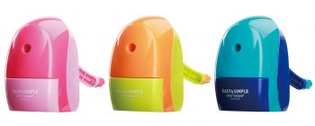 12 x Modern Rotary Pencil Sharpener - Pink Blue & Orange 3 Assorted Colours - Wholesale Bulk Lot Deal