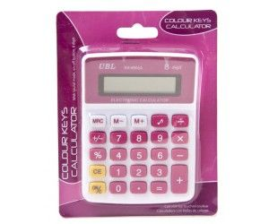 24 x 8 Digit Calculator with Coloured Keys with Sound - Assorted Colours - Blue & Pink - Wholesale Bulk Lot Deals