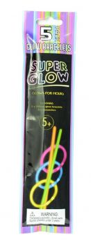 50 x Glow in the dark Bracelets - Super Glow stand 5 Pack- Assorted colours - Wholesale Bulk Lot Deals