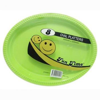 48 Pack - 6 x 8 Pack Light Green Plastic Disposable Oval Plate 300 x 230mm - Super Value!