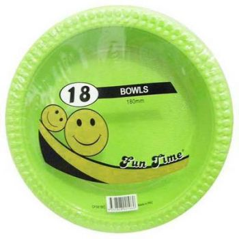 108 Pack - 6 x 18 Pack Light Green Plastic Disposable Bowls 180mm