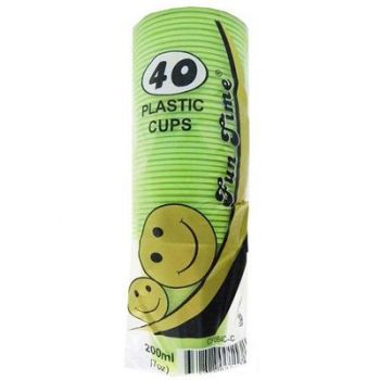 240 Pack - 6 x 40 Pack Light Green Cups Plastic Tumbler Glass 200mL - Super Value!