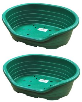 2 x Strong Plastic Pet Bed - Green - Large size - for Indoor and outdoor use