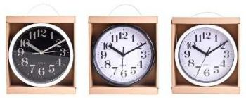 12 x WALL CLOCK BLACK & WHITE FACE 20cm - WHOLESALE BULK LOT DEALS