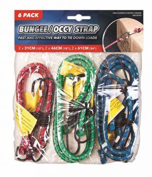 144 Piece (24 X 6 Pack) Bungee Strap 3 sizes - 2 x 31cm, 2 x 46cm, 2 x 61cm - Wholesale Bulk Lot Deal