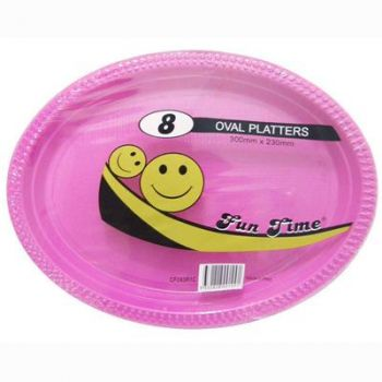 48 Pack - 6 x 8 Pack Hot Pink Plastic Disposable Oval Plate 300 x 230mm - Super Value!