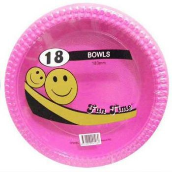 108 Pack - 6 x 18 Pack Hot Pink Plastic Disposable Bowls 180mm