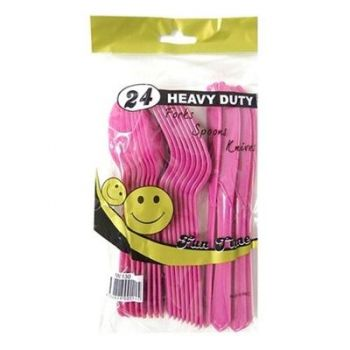 144 Pack - 6 x 24 Pack Hot Pink Heavy Duty Party Cutlery Set - Super Value!