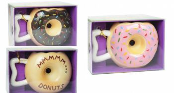 12 x Donut Shaped Coffee Mug - 3 Assorted Designs - Wholesale Bulk Lot Deal