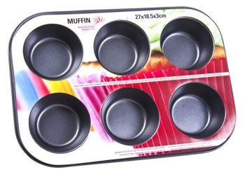 12 x Non-Stick 6 Cup Muffin Pan - Wholesale Bulk Lot Deal
