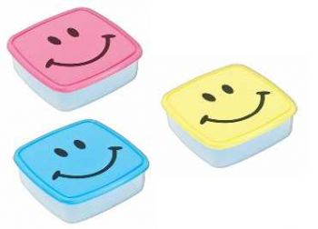 24 x LUNCH BOX WITH SMILEY FACE - 3 ASSORTED COLOURS - Wholesale Bulk Lot Deal