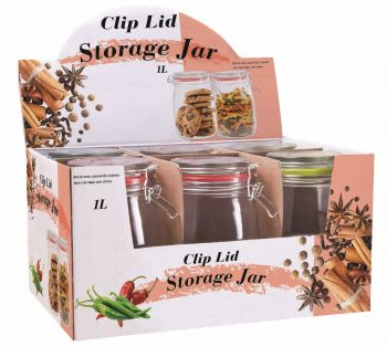 6 x GLASS STORAGE JAR WITH CLIP-LID 1000mL - Wholesale Bulk Lot Deals