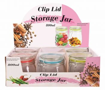 6 x GLASS STORAGE JAR WITH CLIP-LID 800mL - Wholesale Bulk Lot Deals