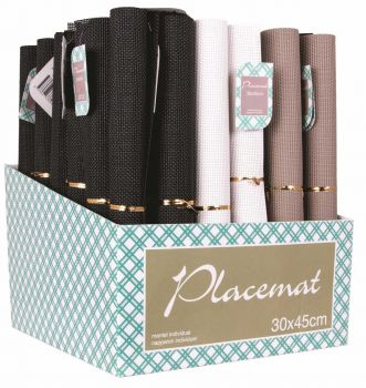 36 x Placemat 30 x 45cm in display box - 3 Assorted Designs - Wholesale Bulk Lot Deals