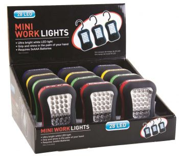 12 x  28LED SUPER BRIGHT MINI WORK LIGHT - PALM TORCH - 4 ASSORTED COLOURS - Wholesale Bulk Lot Deals