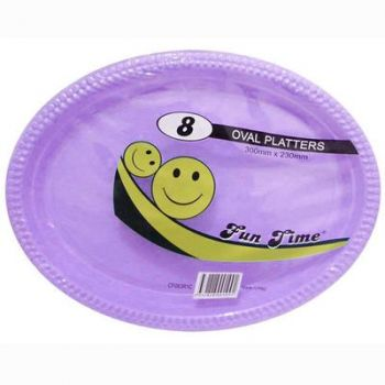 48 Pack - 6 x 8 Pack Lilac Plastic Disposable Oval Plate 300 x 230mm - Super Value!