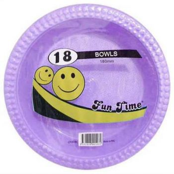 108 Pack - 6 x 18 Pack Lilac Plastic Disposable Bowls 180mm