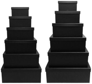 2 x Black Gift Box - Set of 12 Rectangle boxes