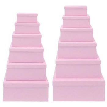 2 x Baby Pink Rectangle Gift Box Set - Set of 12 Rectangle boxes Assorted Sizes