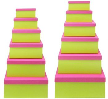 2 x Green Gift Box with Pink Lid - Set of 12 Rectangle boxes