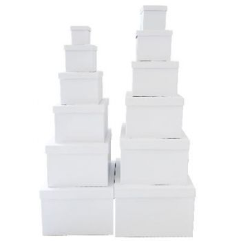 2 x Square White Gift Box Set - Set of 12 Square boxes
