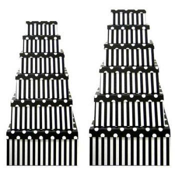 Black Stripes Gift Box with White Polka dot Lid - Set of 12 Rectangle boxes