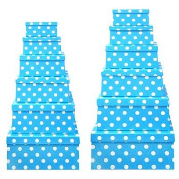 Blue Polka Dots Gift Box - Set of 12 Rectangle boxes