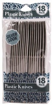 432 PACK (24 x 18 PACK) DISPOSABLE SILVER-LOOK KNIVES - WHOLESALE BULT LOT DEAL