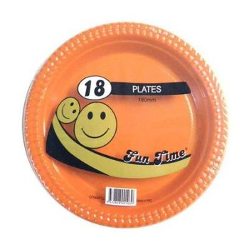 108 Pack - 6 x 18 Pack Orange Plastic Snack Plate 180mm - Super Value!