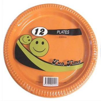 72 Pack - 6 x 12 Pack Orange Plastic Disposable Dinner Plate 230mm - Wholesale lots!