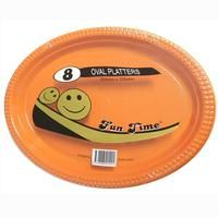 48 Pack - 6 x 8 Pack Orange Plastic Disposable Oval Plate 300 x 230mm - Super Value!