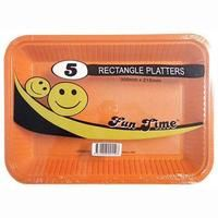 30 Pack - 6 x 5 Pack Orange Plastic Disposable Rectangle Platter 300 x 215mm - Super Value!