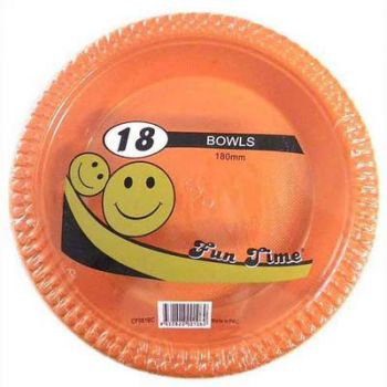 108 Pack - 6 x 18 Pack Orange Plastic Disposable Bowls 180mm