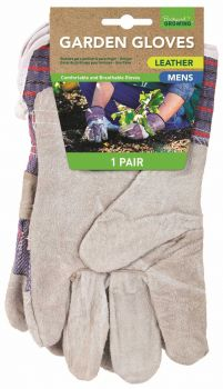 12 PAIRS x MENS LEATHER GARDEN GLOVES WITH GRIP - 2 ASSORTED DESIGNS - Wholesale Bulk Lot Deals