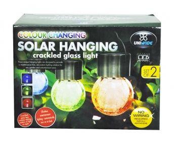 2 X Solar Hanging Crackled Light