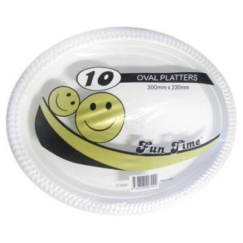 60 Pack - 6 x 10 Pack White Plastic Oval Plate 300 x 230mm