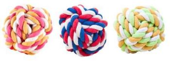 24 x Dog Toy Rope Ball 95mm - 3 Assorted - Wholesale Bulk Lot Deal