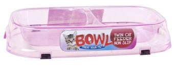 24 x Non-slip Double Compartment Transperant Cat Bowl  - 3 Assorted Colours - Wholesale Bulk Lot Deal