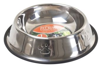 24 x Embossed Stainless Steel Non-skid Dog Bowl 900ml 29cm - Wholesale Bulk Lot Deal