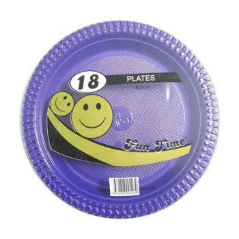 108 Pack - 6 x 18 Pack Purple Plastic Snack Plate 180mm - Super Value!