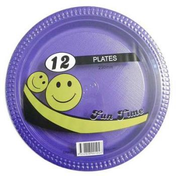 72 Pack - 6 x 12 Pack Purple Plastic Disposable Dinner Plate 230mm - Wholesale lots!