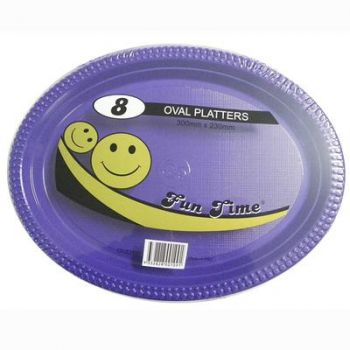 48 Pack - 6 x 8 Pack Purple Plastic Disposable Oval Plate 300 x 230mm - Super Value!