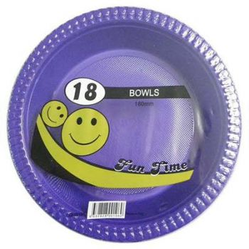 108 Pack - 6 x 18 Pack Purple Plastic Disposable Bowls 180mm