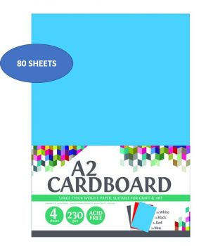 80 Sheets (20 x 4 Pack) A2 Colour Cardboard 230gsm - Thick - Mix Colours - Acid Free - Craft sheet - Wholesale Bulk Lot Deals